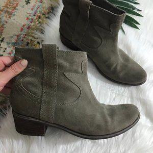 Lucky Brand Gray Leather Ankle Booties